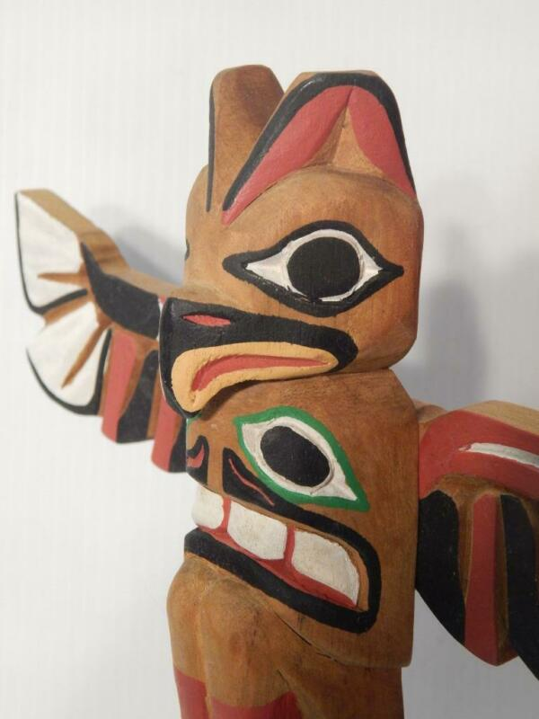 """SUPERB RAY WILLIAMS (1933-1988) 13""""t OLD NW COAST INDIAN WOOD TOTEM POLE MODEL"""