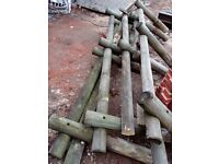 "Fencing stubs and fence 6"" pillars. 35 meters long"