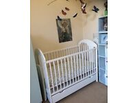 Lovely White Cot Solid Pine Nearly New!