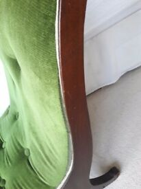 Chaise Lounge. Great condition Green cord fabric.