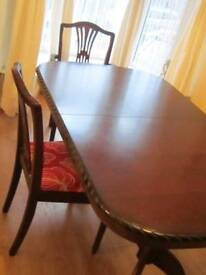 Regency Style Real Mahogany Extendable Table with 6 Chairs