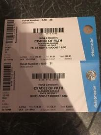 2 Tickets for Cradle of Filth in Glasgow