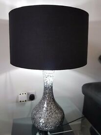 Crackle glass black table lamps