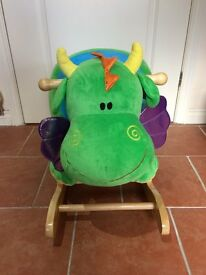 Wooden Plush Sit-On Rocking Dragon for infants - excellent condition