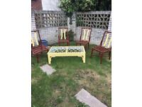 Upcycled 4 Rattan chairs and table