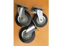 3x Very heavy Duty Caster Wheels for Work Bench Tool Stand Guitar Amp Cabinet. 125mm. German. 900kg