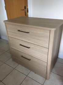Mama and papa nursery wardrobe and chest of drawers. Light oak effect.