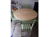 SHABBY CHIC FARMHOUSE PINE TABLE & 4 CHAIRS INCLUDES FREE DELIVERY.