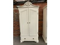 Stunning French Armoire Ivory 2 Door 1 Drawer Wardrobe – Shabby Chic - Great Condition