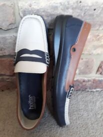 HOTTER ETNA WOMENS NAVY COMBI LEATHER DECK SHOES UK 7.5