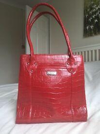 Red leather mock-croc Osprey handbag