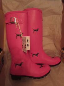 Joules pink dog wellies size 5