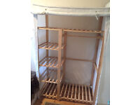 IKEA Natural Wood double Wardrobe With Cream Canvas Cover VGC Collection only.