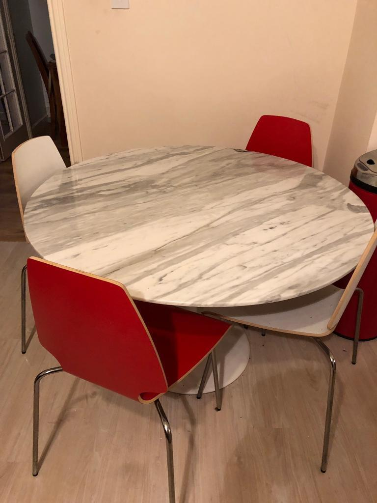 Large Round Marble Kitchen Dining Table 4 Chairs