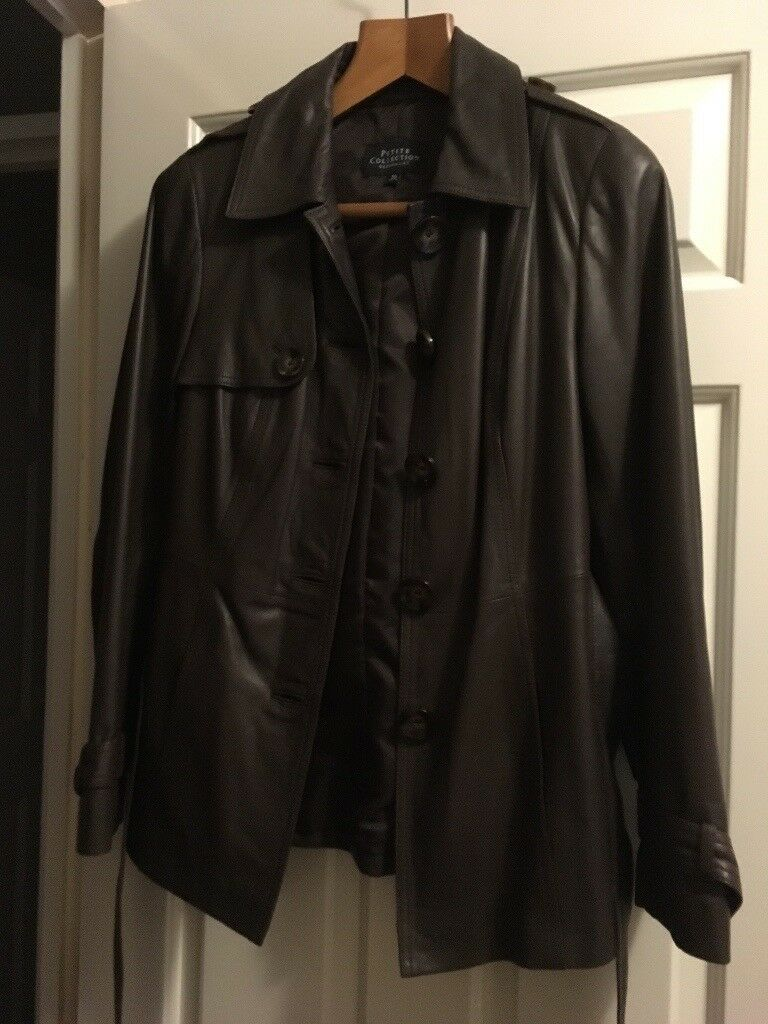 Petite size 10 Ladies brown leather jacket