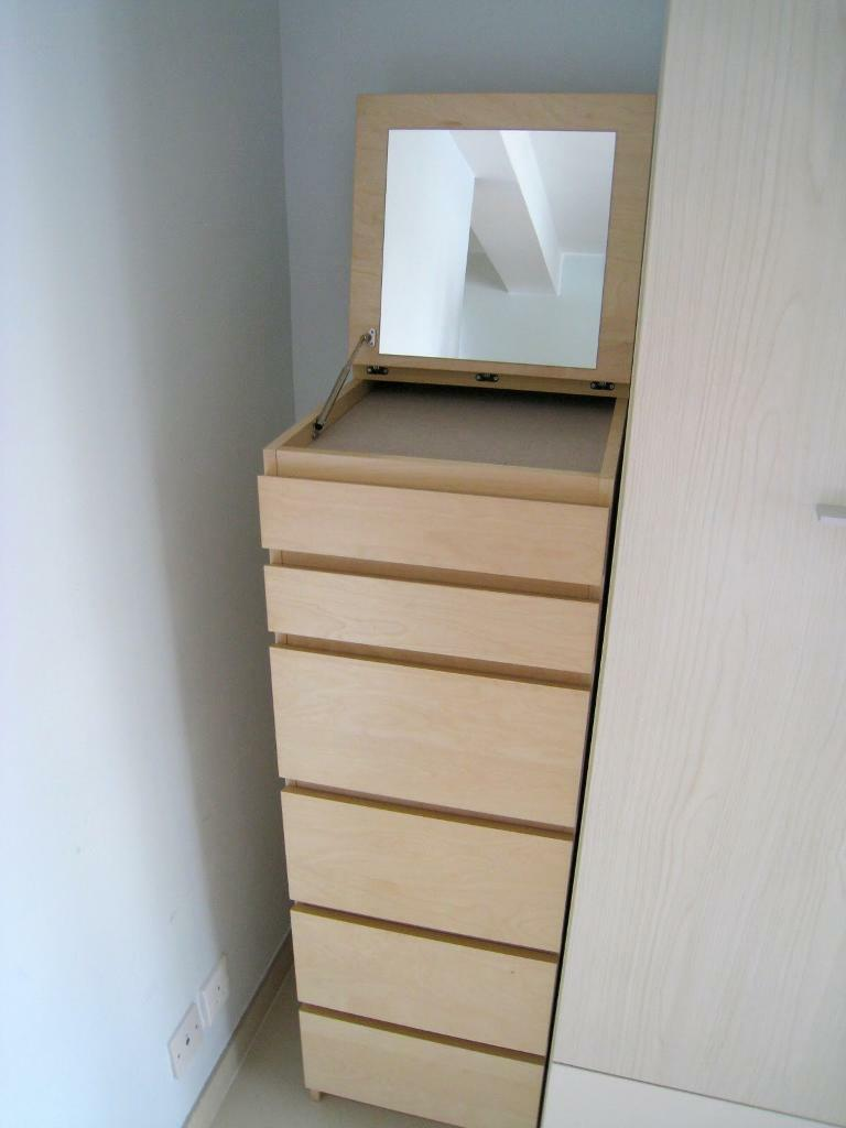 now sold ikea malm 6 drawer tall boy cabinet with mirror birch veneer in wickford essex. Black Bedroom Furniture Sets. Home Design Ideas