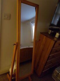 1 x pine floor standing mirror in excellent condition