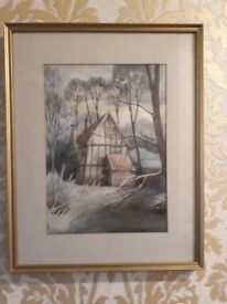 Original watercolour painting country cottage Norfolk