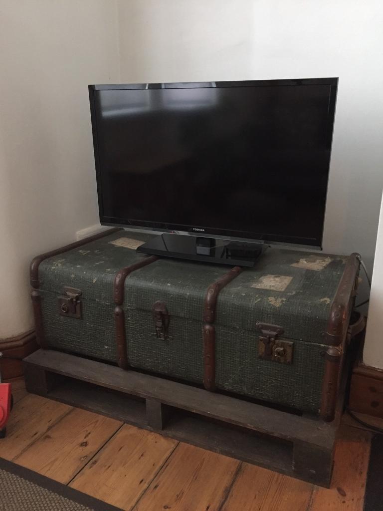 Dark Green Vintage Retro Steamer Trunk Tv Stand Coffee
