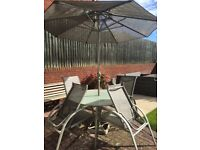 Patio table chairs & umbrella
