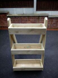 stepladder style wooden planter