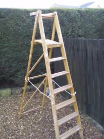 7ft Vintage 1972 Wooden Folding Step Ladders