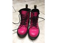 Girls pink Dr. Martens. Girls pink patent size 11 Dr. Martens boots. Excellent condition