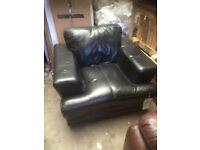 Black leather monza armchair