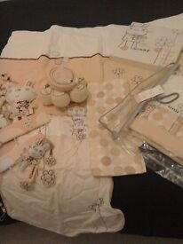 Mamas and papas roubdabout girls cot bedding, matching curtains and much more