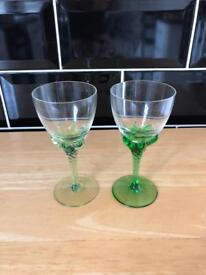 Two green glass