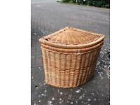 Wicker corner laundry basket