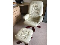 Stressless leather chai and footstool