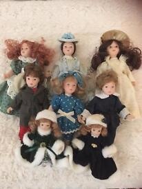 8x porcelain/china dolls from dolls house