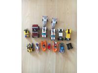 12 mixed lego vehcles including 10 mini figures