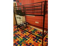 Black metal bunk beds
