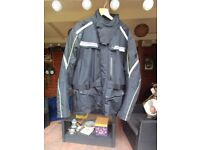 Motor Cycle Jacket Triumph Endeavor Men's Black Textile XL and matching Trousers waist 38