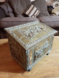 antique brass plated coal/ blanket box