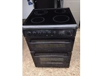£136.50 Hotpoint black ceramic electric cooker+60cm+3 months warranty for £136.50