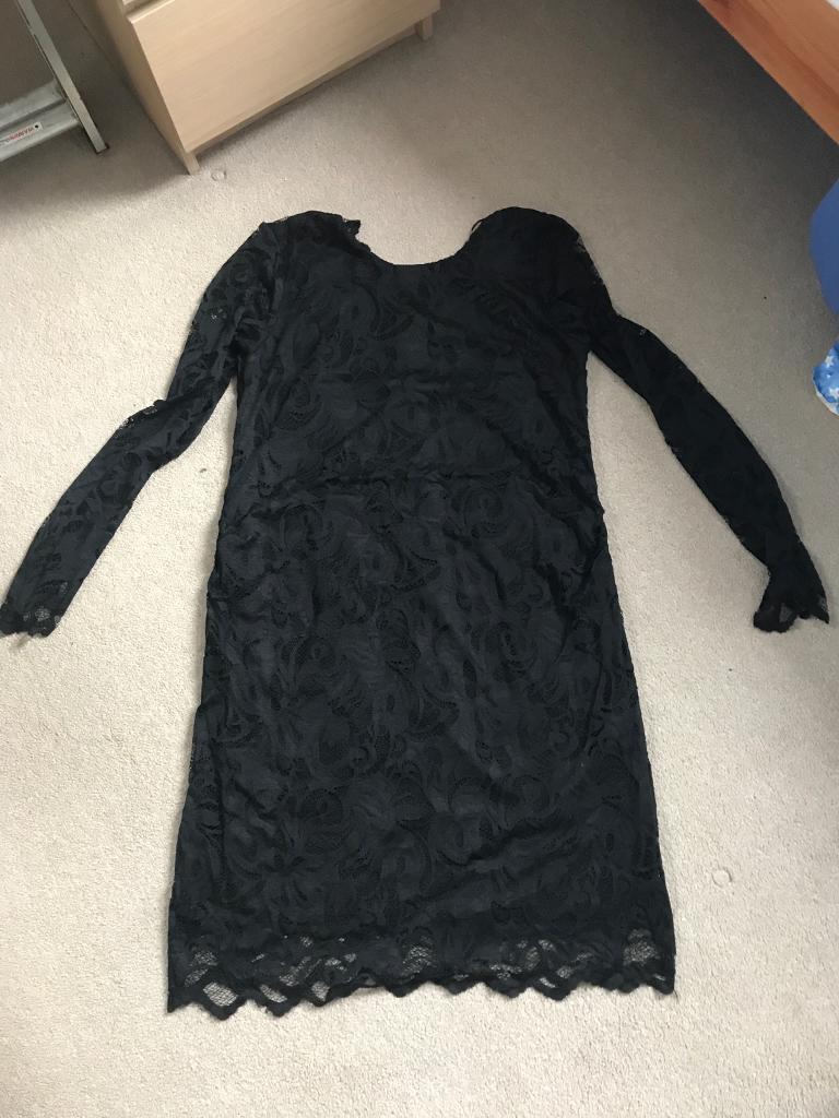 Black lace maternity dress size L