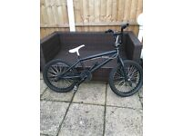 Boys black BMX with stunt pegs and one brake.