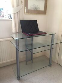 GLASS COMPUTER DESK 900 x 600 x 810h WITH SHELVES IDEAL FOR USE IN SMALL OFFICE OR HOME.