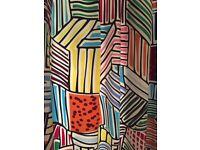 Curtains from £40-£50, Ikea Designer fabric; Blue, Gold Flower design; Beige Black Flower design