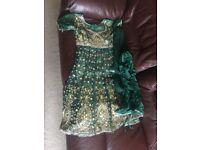 Dark green asian party dress