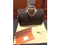 A Lovely Genuine Louis Vuitton Speedy 35 Bandouliere Monogram Bag box & receipt