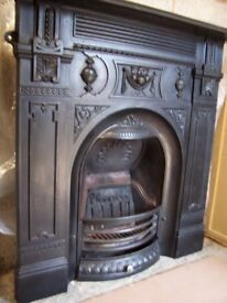 ANTIQUE CAST IRON FIRE PLACE LARGE FULL SIZE BEAUTIFULL ALL COMPLETE