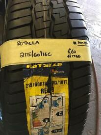 215/60/16c brand new rotalla tyre