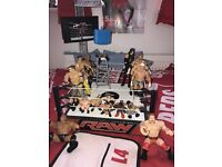 WWE wrestling ring, figures and accessories