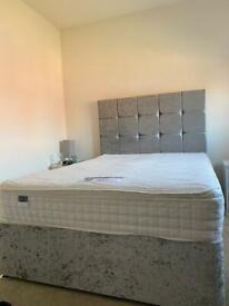 Double Divan Grey Crushed Velvet Bed with Headboard