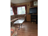 Autumn Staycation 3 bed-caravan to rent with fireplace & bbq, outdoor swimming pool