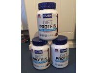 USN Diet Protein Powder (Chocolate) - 880g Tubs x 3